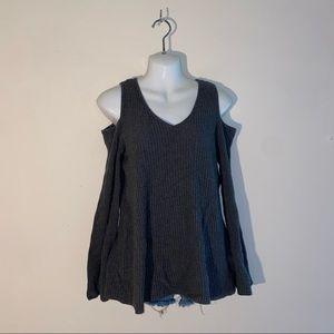 GNW Grey Sleek Cold Shoulder Belled Sleeve Sweater